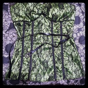 Green and black lace belted corset top